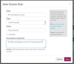 Creating a rule for a stream